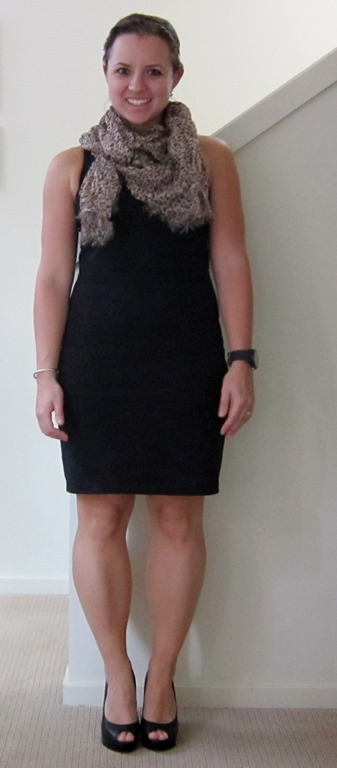 bf2c434a58f38 They're so versatile, and can easily be dressed up or down. I paired this  simple black sheath with a leopard print scarf and black heels.